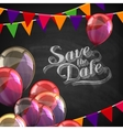 chalk of Save the Date label with vector image vector image