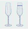 champagne glass hand drawn sketch on notebook vector image