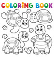 coloring book turtle theme 1 vector image vector image