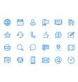 contact us line icon set feedback customer vector image vector image