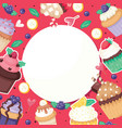 cupcake poster pattern cute cake food background vector image
