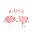 cute pink brain and heart holding hands funny vector image