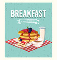 delicious pancakes with coffee cup and milk glass vector image vector image