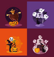 halloween card with set characters vector image