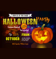 halloween party invitation with pumpkin vector image vector image
