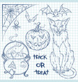 Hand drawn halloween doodles collection