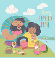 happy family on a picnic dad momdaughter and vector image