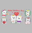happy valentine s day set of six characters cute vector image vector image