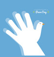international peace day with hand making the vector image vector image