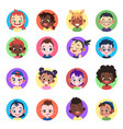 kids avatar faces ethnic cute boys girls avatars vector image vector image