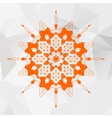 Mandala in orange color on gray triangles mesh vector image