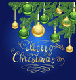 merry christmas golden lettering on blue vector image vector image