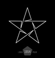 minimal monochrome vintage star made of thin lines vector image vector image