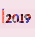 multicolor numbers 2019 and new year greetings vector image vector image