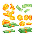 packages of banknotes pile of cash dollar vector image vector image