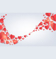 paper folded hearts background vector image vector image