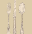 retro cutlery set vector image