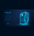 school backpack isolated from low poly wire frame vector image