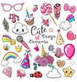 set cute design elements vector image