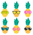 set of pineapples with sunglasses vector image