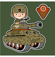 soldier cartoon on armored vehicle vector image vector image