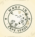 Stamp with map of Cape Verde vector image vector image