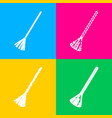 sweeping broom sign four styles of icon on four vector image vector image