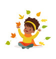 sweet african american little girl in warm vector image vector image