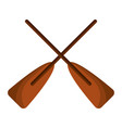 two wooden crossed boat oars sport vector image vector image