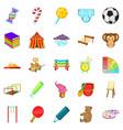schoolyard icons set cartoon style vector image