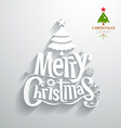 Merry Christmas lettering white paper cut design vector image