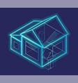 3d rendering smart house blueprint schema vector image