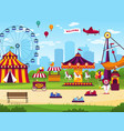 amusement park attractions entertainment joyful vector image vector image