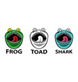 angry frog toad and shark mascots vector image