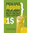 banner with apple and a glass of juice vector image vector image