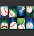baseball poster set empty template vector image vector image