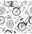 bicycles florals and leaves hand drawn vector image