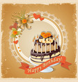 birthday card with cake tier ribbon and roses vector image vector image