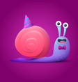 birthday card with happy snail vector image