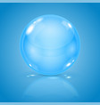 blue glass ball 3d shiny sphere on blue vector image vector image