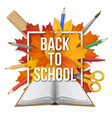 book back to school frame leaves vector image vector image