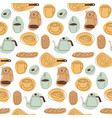 breakfast seamless pattern with cappuccino cups vector image vector image
