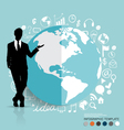 Businessman showing modern globe with application vector image