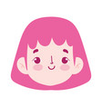 cartoon face girl female character isolated icon vector image vector image
