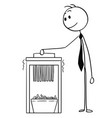 cartoon of businessman using paper shredder vector image