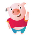 cartoon pig says hi waving and shy vector image