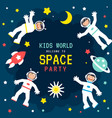 children s space party poster vector image vector image