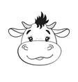 cute cartoon babull line drawing bull cub vector image vector image