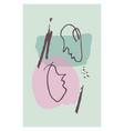 doodle abstract woman and man face one line vector image vector image