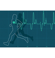 electrocardiogram and running man vector image vector image